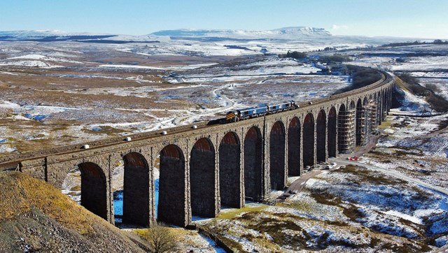 Ribblehead viaduct with Network Rail route proving train and snowplough crossing Feb 11 2021 - Credit Tom Beresford