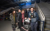 Record £52.7m spend on film and TV production: Ms Hyslop announced the record production spend figure today after meeting crew of The Wife while filming on location at the National Museum of Flight.