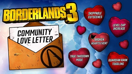 New Borderlands 3 Seasonal Event and Level Cap Increase Detailed in Community Love Letter: BL3 Community Love Letter