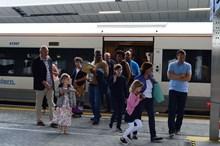 Families arrive at platform 8: Families arrive on the newly rebuilt platform 8 at London Bridge station.