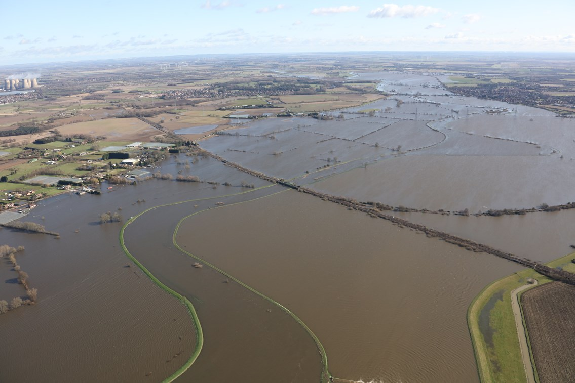 Network Rail launches task forces in wake of Stonehaven tragedy: photo showing extent of flooding of railway line near Drax power plant