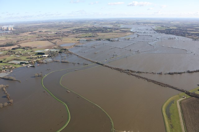 photo showing extent of flooding of railway line near Drax power plant