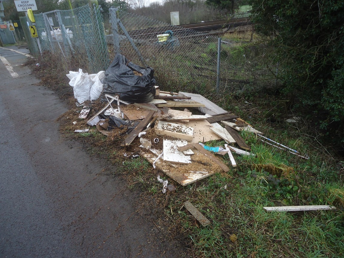 East Sussex railway clean-up is a load of rubbish: Just some of the rubbish cleared from Thornwell Road level crossing