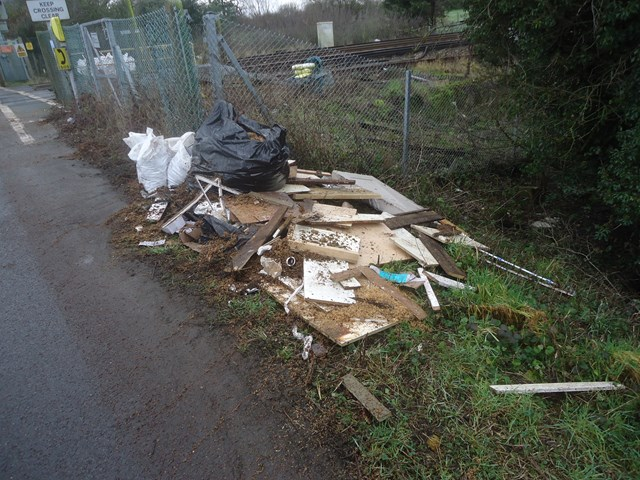 Just some of the rubbish cleared from Thornwell Road level crossing