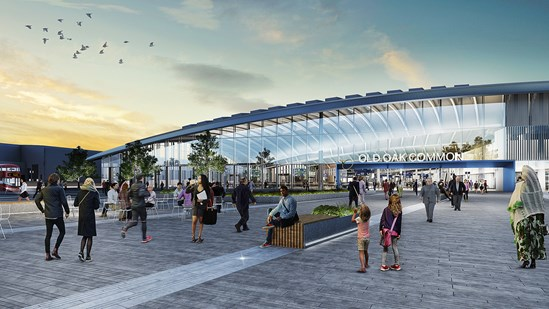 HS2 confirms London Euston and Old Oak Common construction teams: OOC Entrance Night