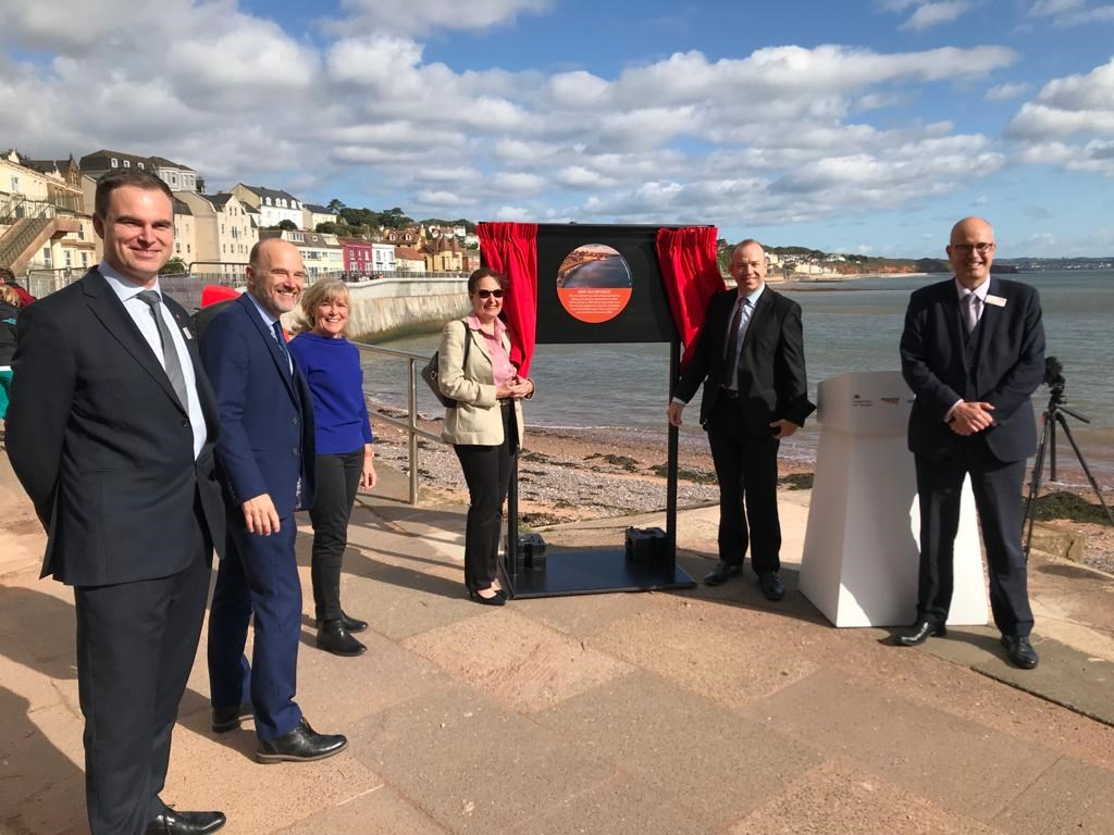 Opening of first section of new Dawlish sea wall: Opening of first section of new Dawlish sea wall