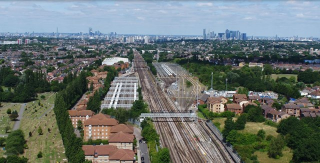 VIDEO: Better journeys for South East London and Kent rail passengers as £81m signalling system at Hither Green comes into use: aerial2