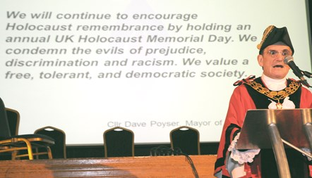 Holocaust Memorial Day - Islington Mayor Cllr Dave Poyser reads a commitment statement on behalf of the council