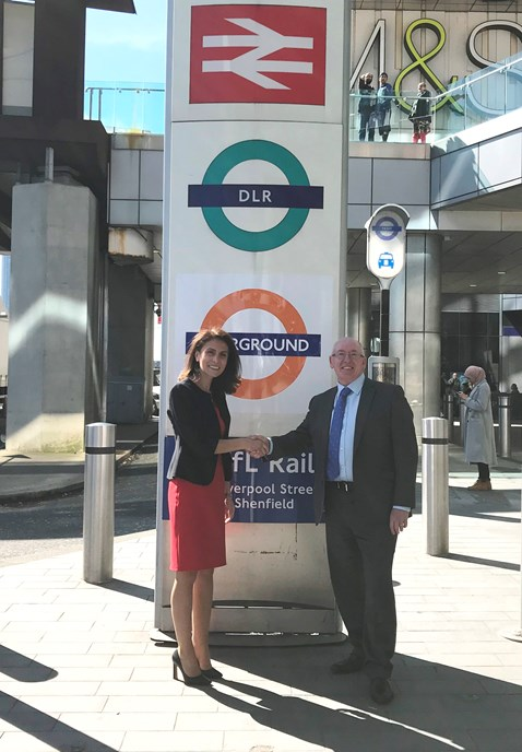 Meliha Duymaz and Arthur Leathley 1 - outside Stratford station