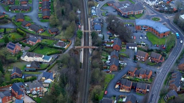 Oakengates station and footbridge aerial view