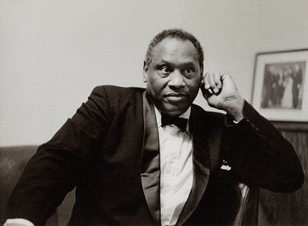 Paul Robeson by Neil Libbert.: Paul Robeson pictured at Manchester Free Trade Hall for the Manchester Guardian in 1958 by Neil Libbert. ©Neil Libbert Courtesy - National Portrait Gallery