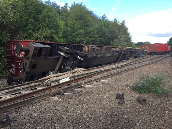 Freight train derailment near Coleshill, Warwickshire
