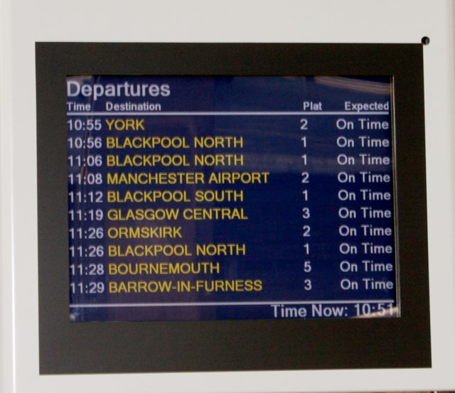 Customer Information Screens at Preston station: One of the new Customer Information Screens at Preston station, which passengers have been benefitting from since the beginning of the year.