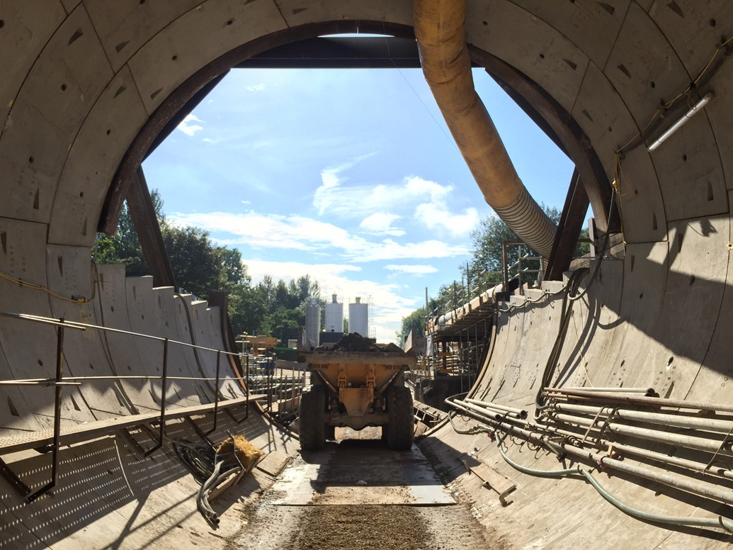 A666 lane closures while train tunnel is enlarged underneath: Farnworth Tunnel - looking out from the newly-bored tunnel