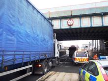 A bridge strike at Bute Street Rail Bridge in Cardiff