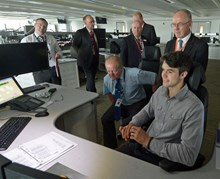 Sir Richard Leese (second right), leader of Manchester City Council, tours the new Manchester Rail Operating Centre (ROC)