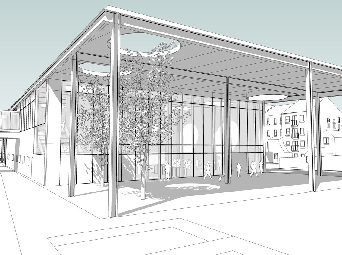 Bedford's new station (external): Network Rail's plans for a new station building at Bedford have been developed in consultation with Bedford Borough Council and the Bedford Station Quarter scheme to ensure it does not preclude any future development of the area.