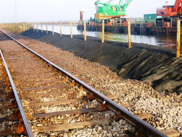 Norfolk flooding repair work: Repairs carried out in the Haddiscoe area after floods washed away 160 tonnes of track material