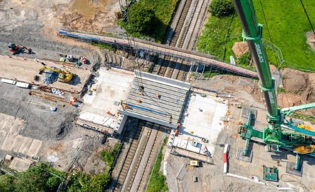 The new bridge deck as seen from the crane in Crewe - Boulderstones bridge