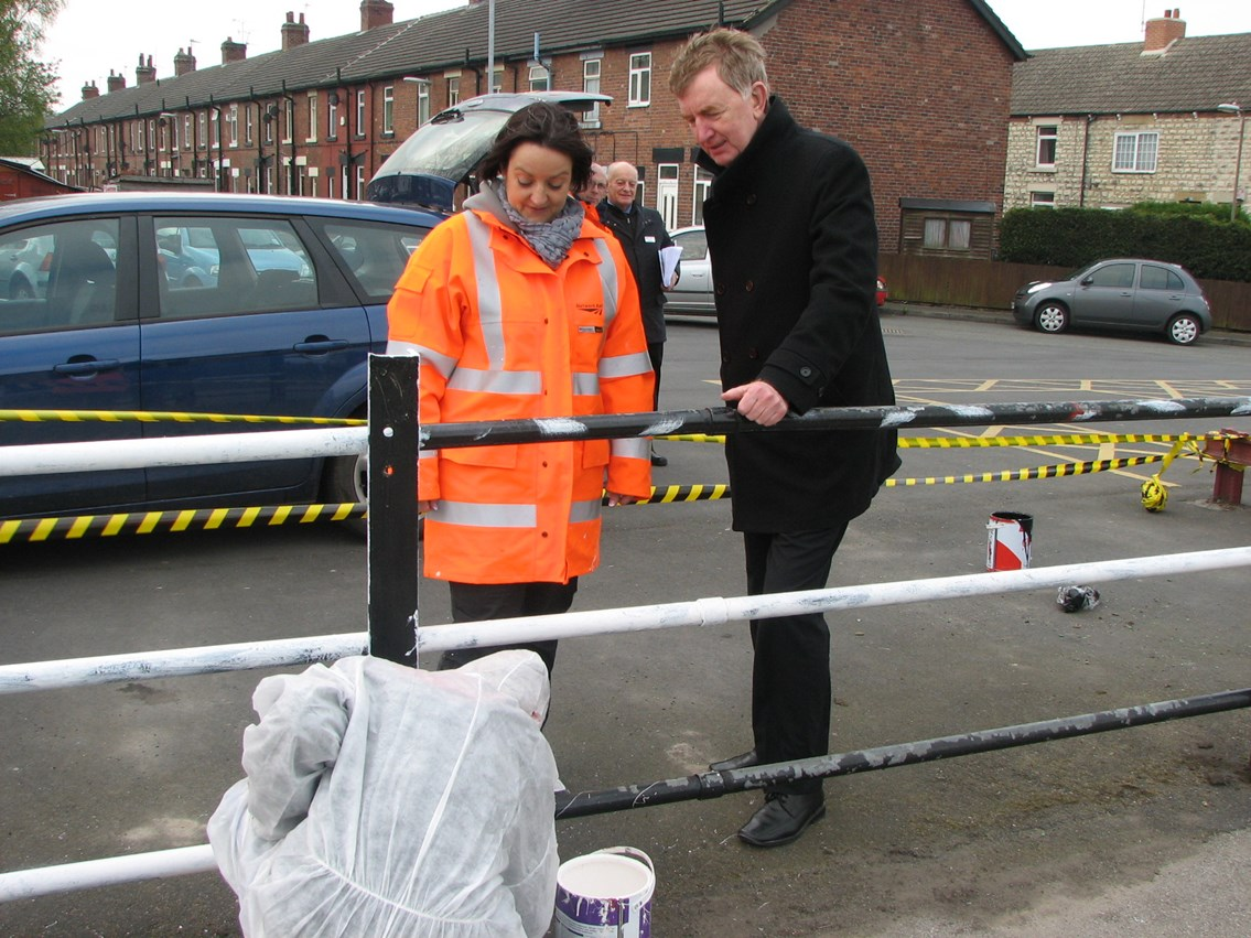 Colin Burgon MP visits young offenders working at Micklefield station: Colin Burgon MP, young offender and Vicki Smith, community safety manager from Network Rail
