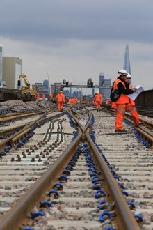 Easter 2015 New crossovers for new track, laid to allow viaduct demolition to start this year 2