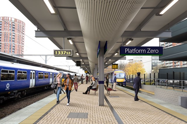 Final reminder to passengers ahead of major work at Leeds station this weekend: Image of expected look of Platform 0 at Leeds station