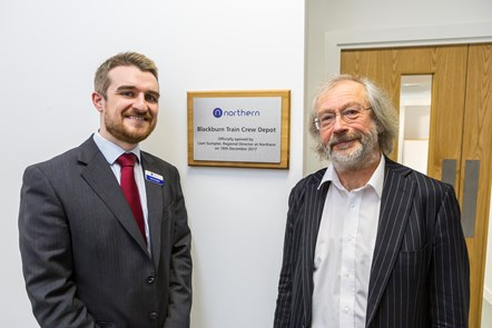 Blackburn new offices: Northern Regional Director Liam Sumpter (left) and Cllr Phil Riley, Executive Member for Regeneration and Deputy Leader at Blackburn with Darwen Council open the new train crew depot.