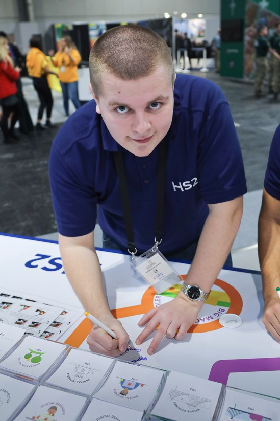 Chris Sadler, former HS2 Apprentice 2018 Cohort: Credit: HS2 Ltd (Big Bang Fair, Apprentices, Skills)