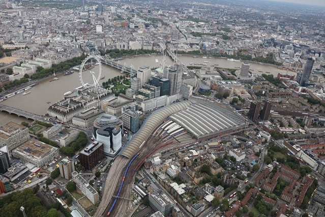 New platforms open at Britain's busiest railway station as part of £800 million investment for passengers: Waterloo taken from the NR helicopter