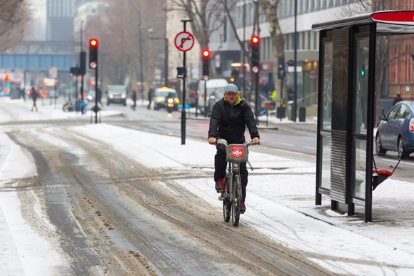 TfL Image - Cycle routes will be gritted, using dedicated cycle route grit spreaders