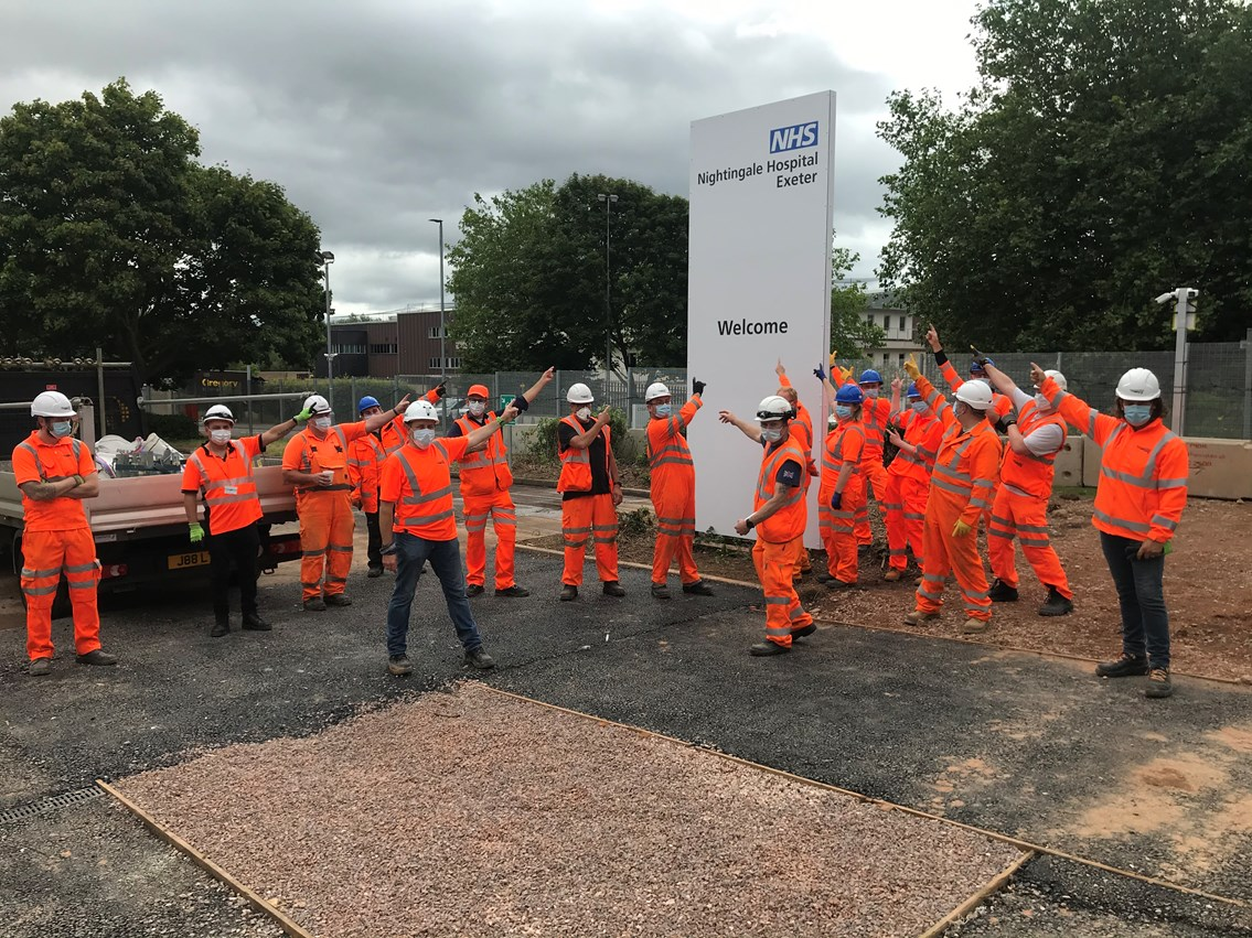 Dozens of railway workers help get hospital ready to treat patients across the south west: Exeter Nightingale 1