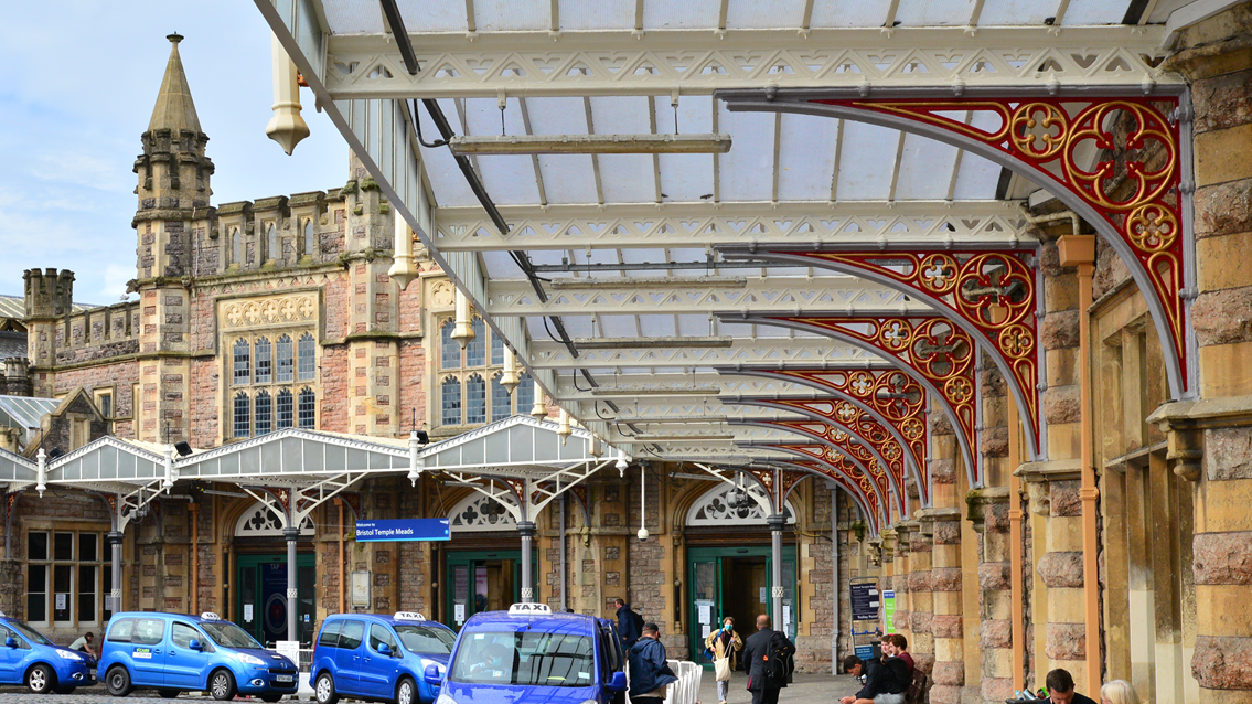 Picture perfect – painting a brighter future for Bristol Temple Meads station: Bristol Temple Meads forecourt canopies newly painted