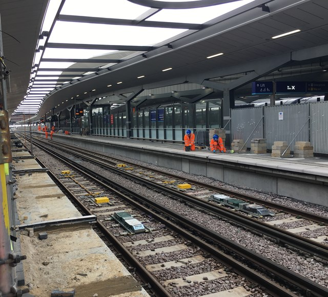 Platform 6: Engineers working on new platform 6 at London Bridge station ahead of the platform coming into use on 3 September, following eight days of closures at London Bridge, Waterloo East and Charing Cross.