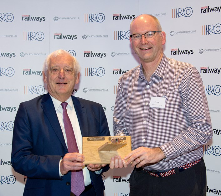TfW Strategic Advisor Chris Gibb receives his lifetime achievement from former InterCity managing director Chris Green
