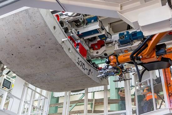 Krokodyl robot lifts TBM tunnel segment November 2020: Credit: Align JV (Krokodyl, Dobydo, Innovation, TBM, South Portal) Internal Asset No. 19349