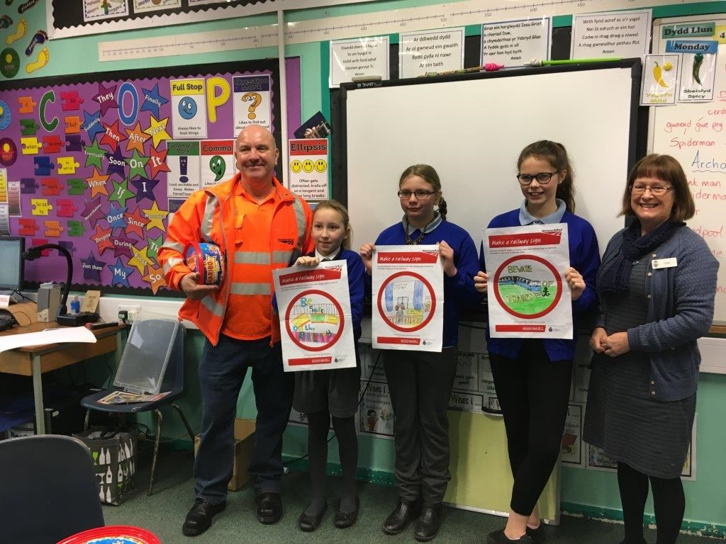1st, 2nd and 3rd prize winners from Ysgol Tan y Castle in Harlech