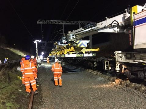 Track work on the Halton Curve on Merseyside