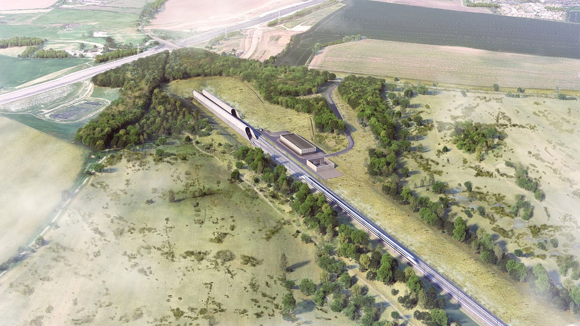 HS2 reveals ambitious plans to create one of the largest areas of chalk grassland on the edge of the Chilterns in the Colne Valley: Chiltern Tunnel South Portal Aerial View