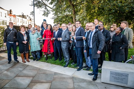 The Mayor of London, Sadiq Khan, joins Cllr Claudia Webbe, Islington Council's executive member for environment and transport, and Cllr Richard Watts, leader of Islington Council (L-R front row) to officially launch the transformed Highbury Corner with local residents, campaigners, councillors and project team members