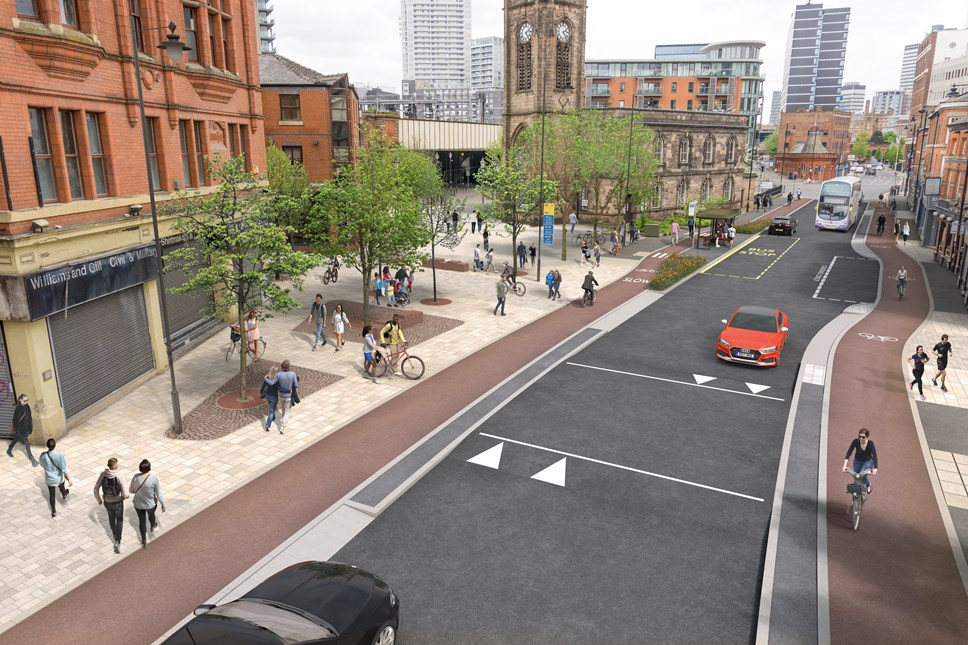 Bee Network creates a buzz in Salford as two schemes open for consultation: Chapel Street CGI Issue 05 FINAL