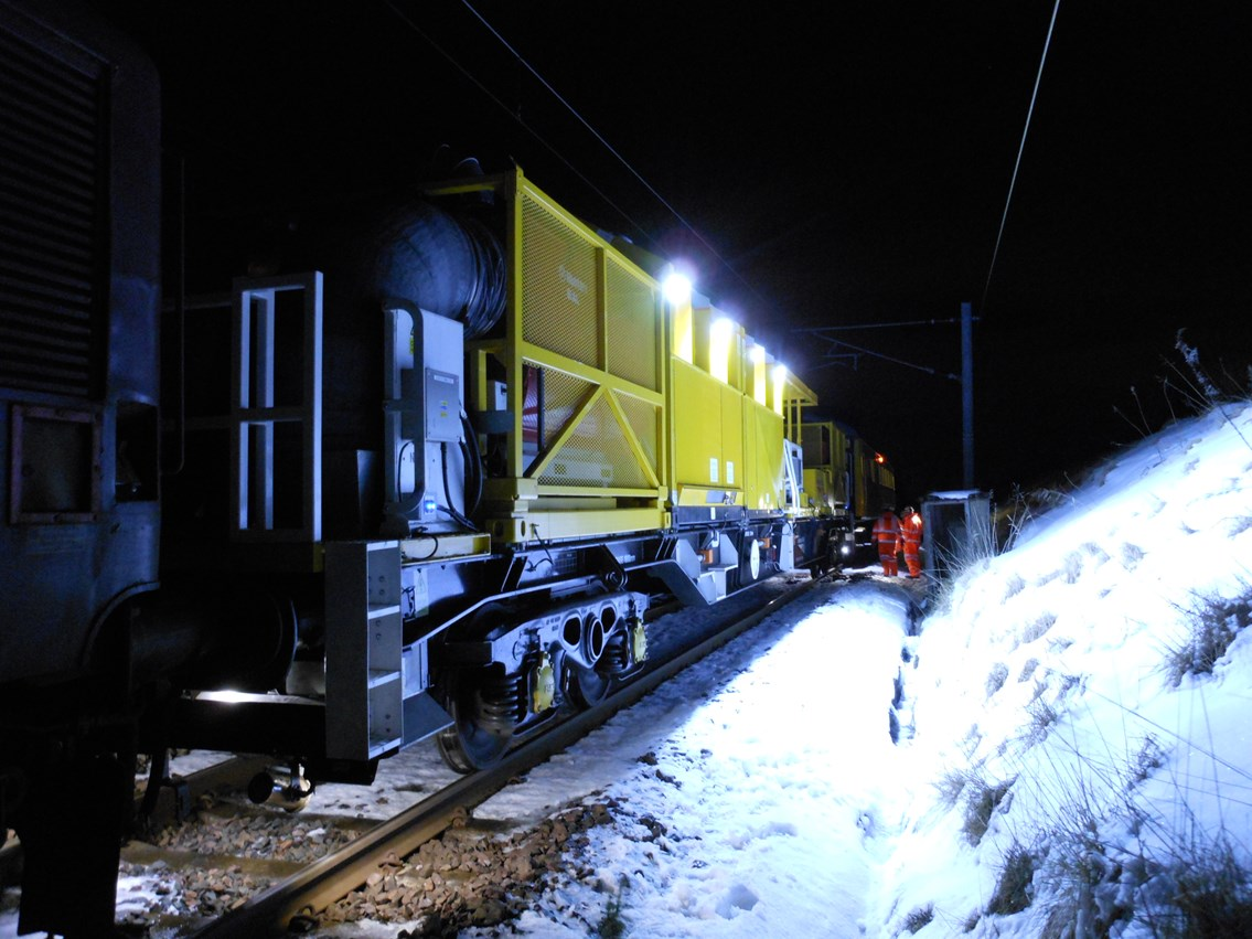 Purpose-built snow clearing train for winter weather in Scotland: Complete with  hot air blowers, steam jets, brushes, scrapers and anti-freeze to help clear the tracks  winter weather. Snow