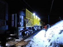 Purpose-built snow clearing train (2): Complete with  hot air blowers, steam jets, brushes, scrapers and anti-freeze to help clear the tracks  winter weather. Snow
