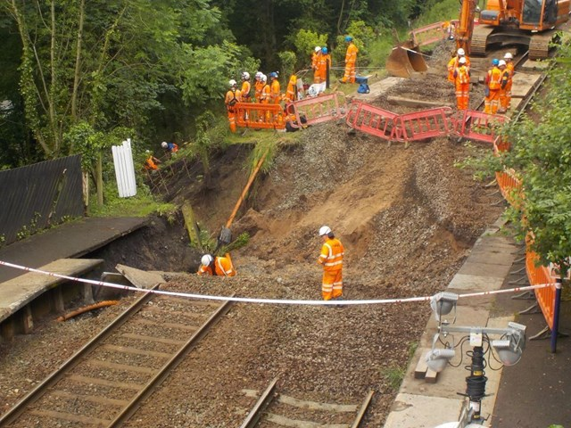 Work ongoing at Middlewood to repair land slip