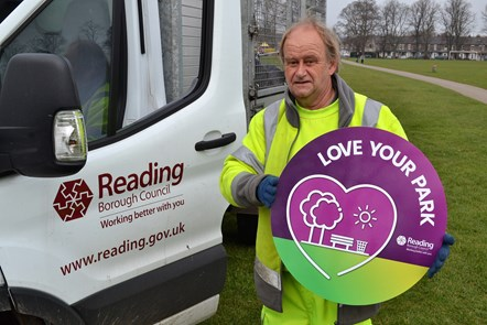 Robin, member of the Reading Council park cleansing team: Robin photographed in Palmer Park supporting the 'Love Your Park' campaign