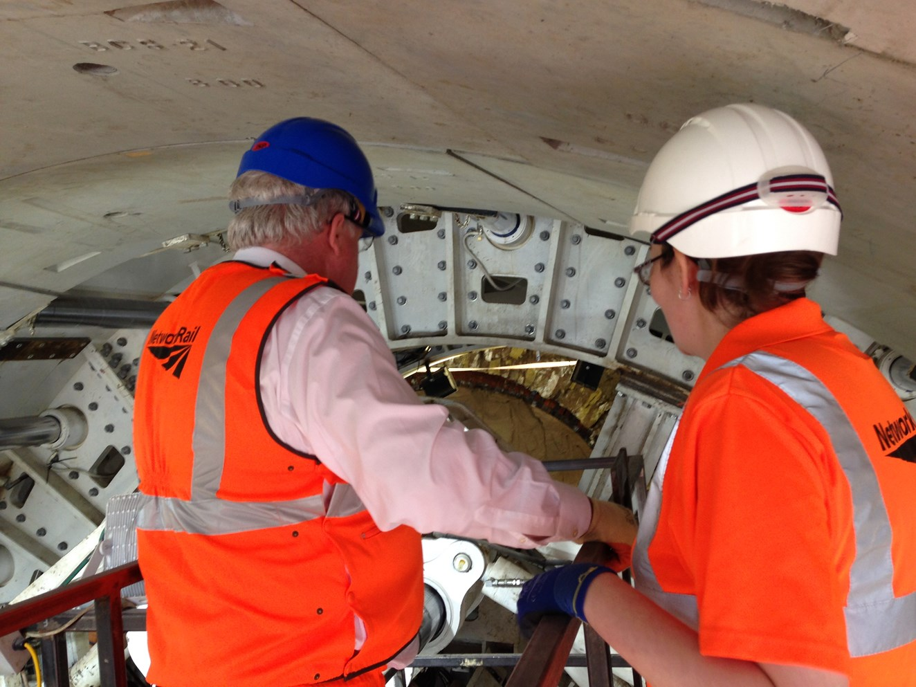 Britain's biggest tunnel-boring machine starts work on Bolton railway upgrade: Patrick McLoughlin and Bethan Dale inside Farnworth Tunnel