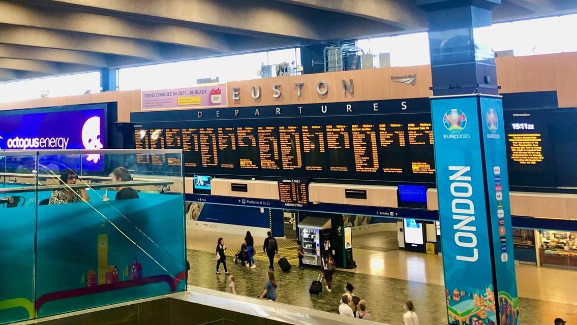 West Coast main line travel advice during EURO 2020: Euston station concourse 7 June 2021