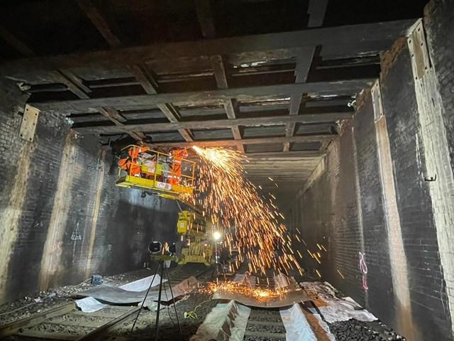 Strengthening work inside Stamford Tunnel