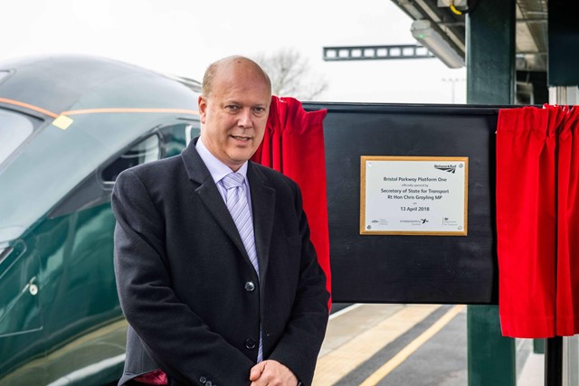 Capacity at Bristol Parkway set to expand as Secretary of State unveils plaque to mark official opening of brand new platform: Chris Grayling officially opened the new platform at Bristol Parkway
