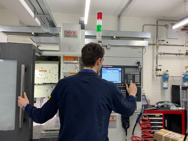 Siemens steps up to support the UK's Ventilator Challenge: Siemens engineer at Congleton running the XYZ 500 CNC machining centre 3