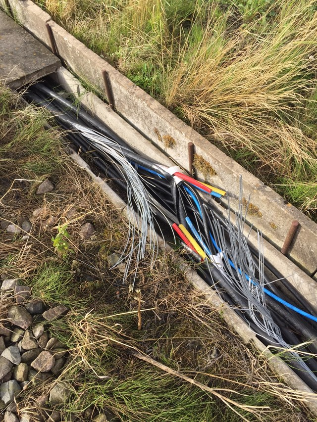 Damage caused by copper cable thieves on the West Coast main line in Staffordshire